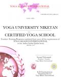 Yoga Niketan Russia Certificate